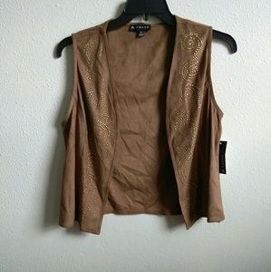 Brown Western Style Vest with gold embellishments